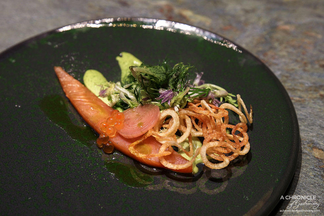 Mercedes Me St Ali - Land Air Sea with cold smoked salmon, roe, crispy potato, dill cream and pickled shallots
