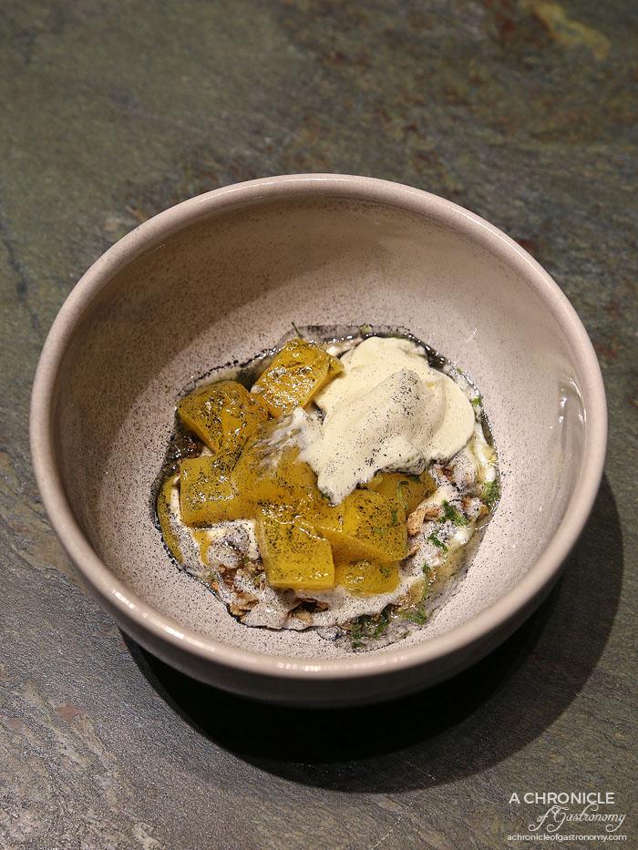 Mercedes Me St Ali - Mango & Granola - Lightly cooked mango, granola toasted with agave and coconut charcoal, fresh mango, caramelised mango, frozen orange blossom yoghurt