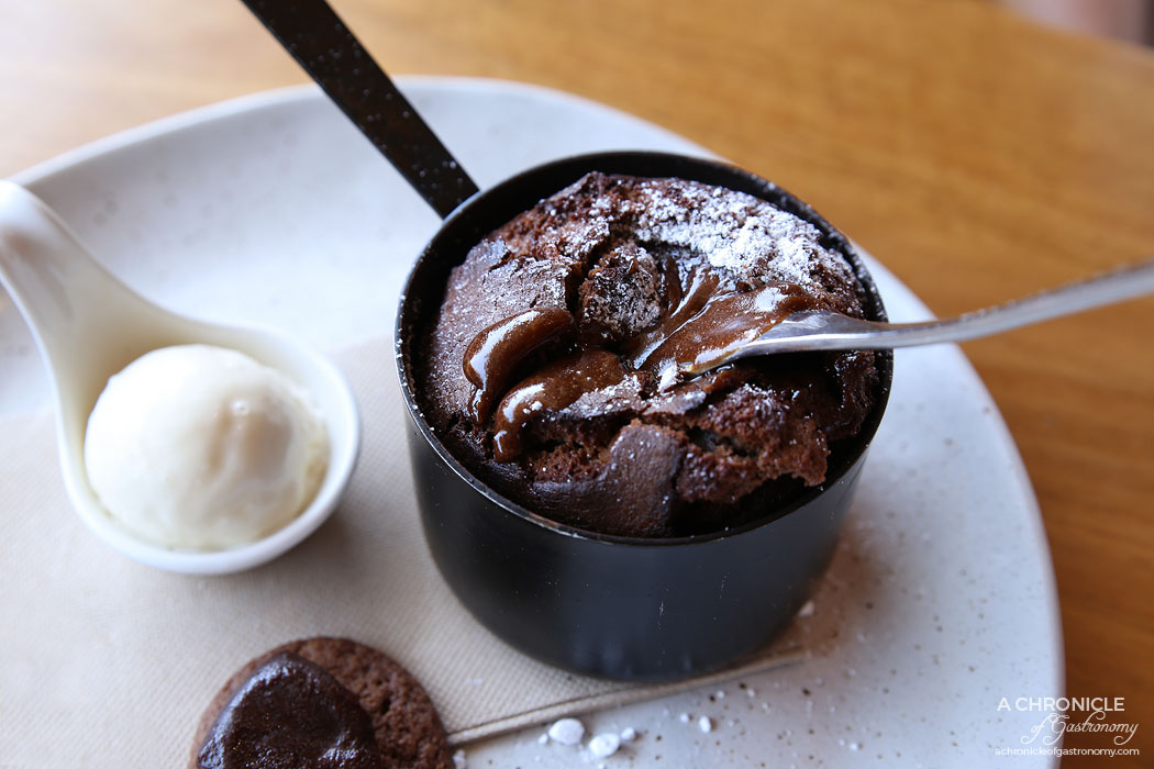 Osteria 20 - Hot Chocolate Fondant w banana fudge, bourbon biscuits, smoked chocolate sauce ($18)