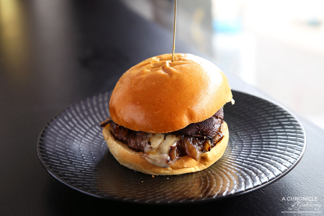 Phat Stacks - The Blue Baller - Beef, gorgonzola, caramelised onions, baked mushroom, balsamic ($16)