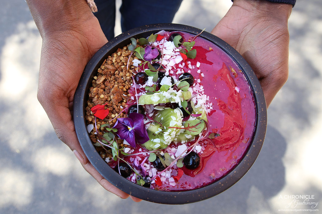 Trillium - Dragon Smoothie Bowl - Pitaya, watermelon, OJ, mango, coconut water, kiwi, raspberry, buckwheat granola ($16)