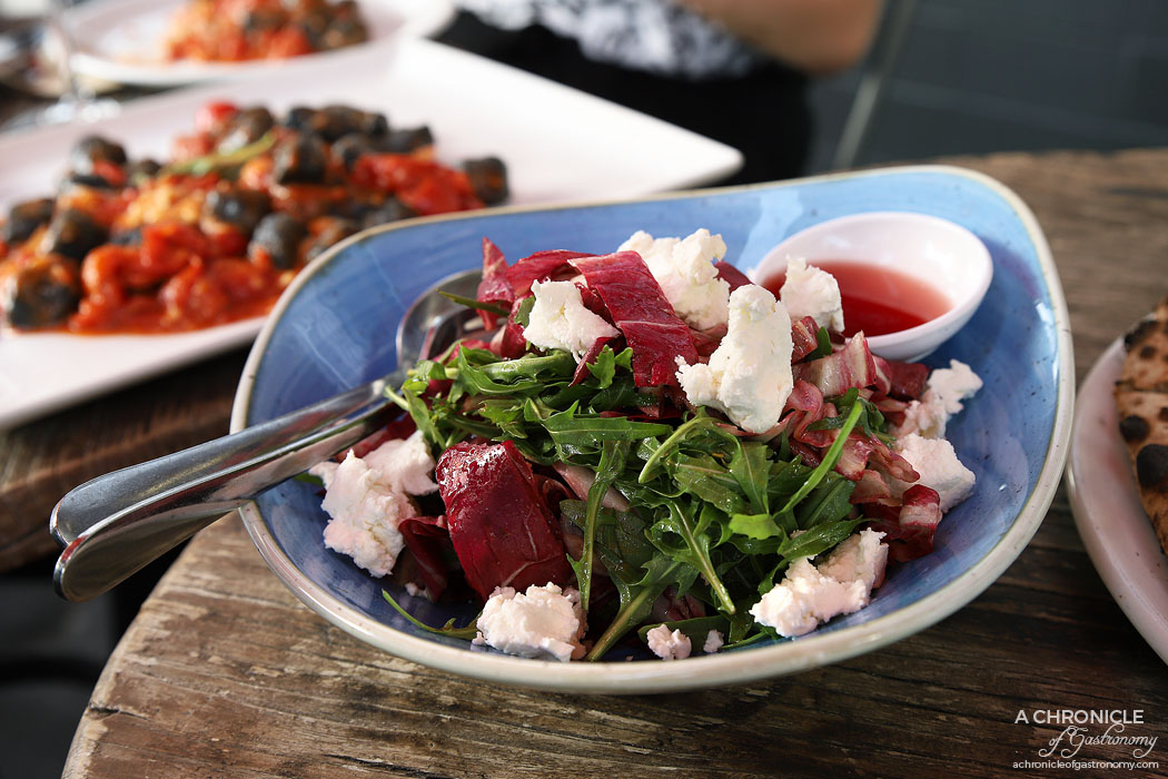 48h Pizza & Gnocchi Bar - Montanara Salad - Radicchio, rocket, goats cheese, raspberry vinegar ($16)