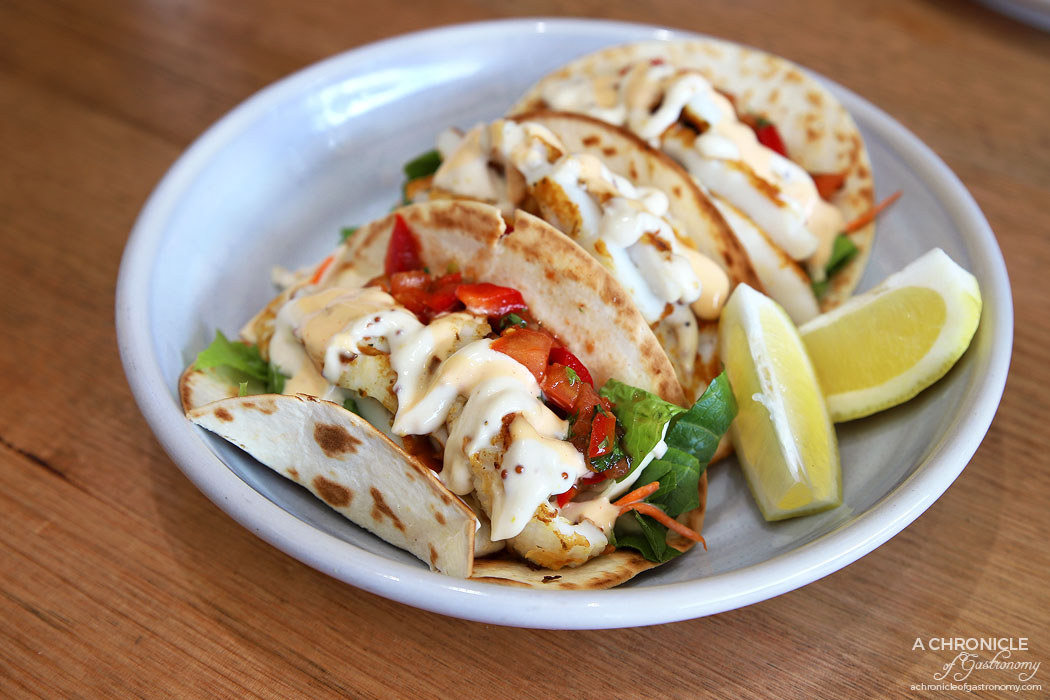 At The Catch - Calamari tacos w tomato salsa ($16)