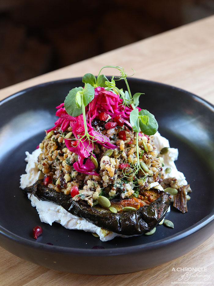 Bentwood - Braised Spiced Lamb - Grain herb salad w baked eggplant, feta, pomegranate, sumac, labneh and pickled red cabbage ($22.50)