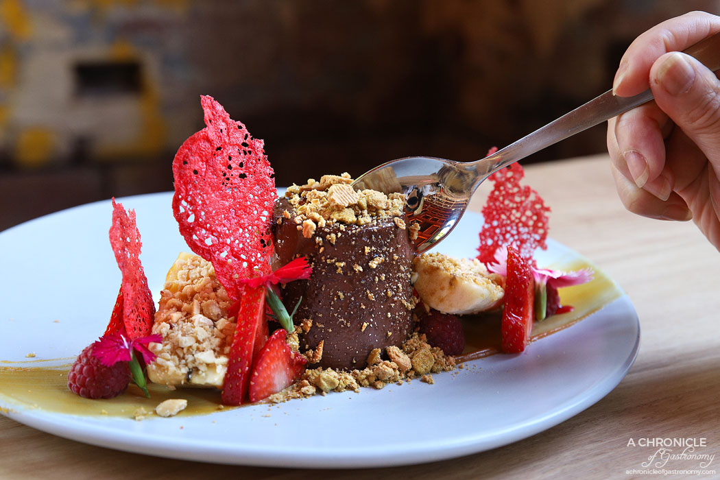 Bentwood - Golden Gaytime Panna Cotta - Chocolate panna cotta, salted caramel, honeycomb biscuit crumb, roasted peanuts, banana and raspberries ($20)
