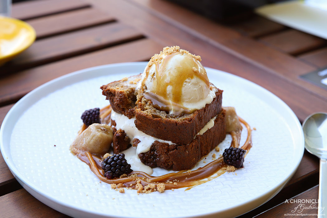 Glace - Banana Bread with cinnamon almond crumble, caramelised banana in brown sugar, freshly whipped vanilla chantilly cream, banana ice cream and peanut butter