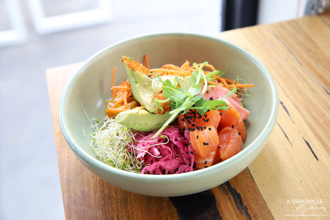 My Other Brother - Salmon Chakra Bowl w salmon sashimi, avocado, pickled ginger, pickled red cabbage, carrot, mango, alfafa, shichimi, wasabi peas, soy, sriracha mayo, black sesame, rice ($22.50)
