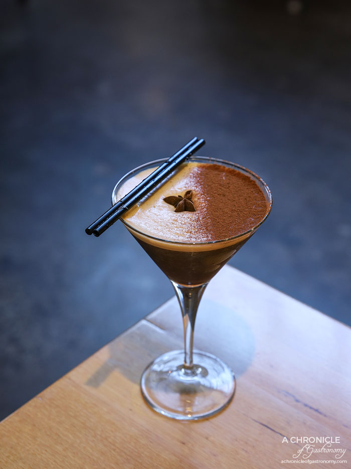 Two Fat Monks - Goldentini - Espresso martini + chaitini. Chai infused vodka, single origin espresso shot, vodka, cinnamon ($17)