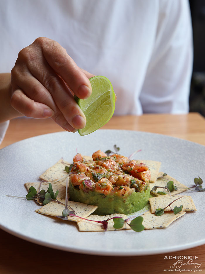 Two Fat Monks - Salmon Tartare - House-cured Atlantic salmon, avocado, capers, lavosh ($15,50)