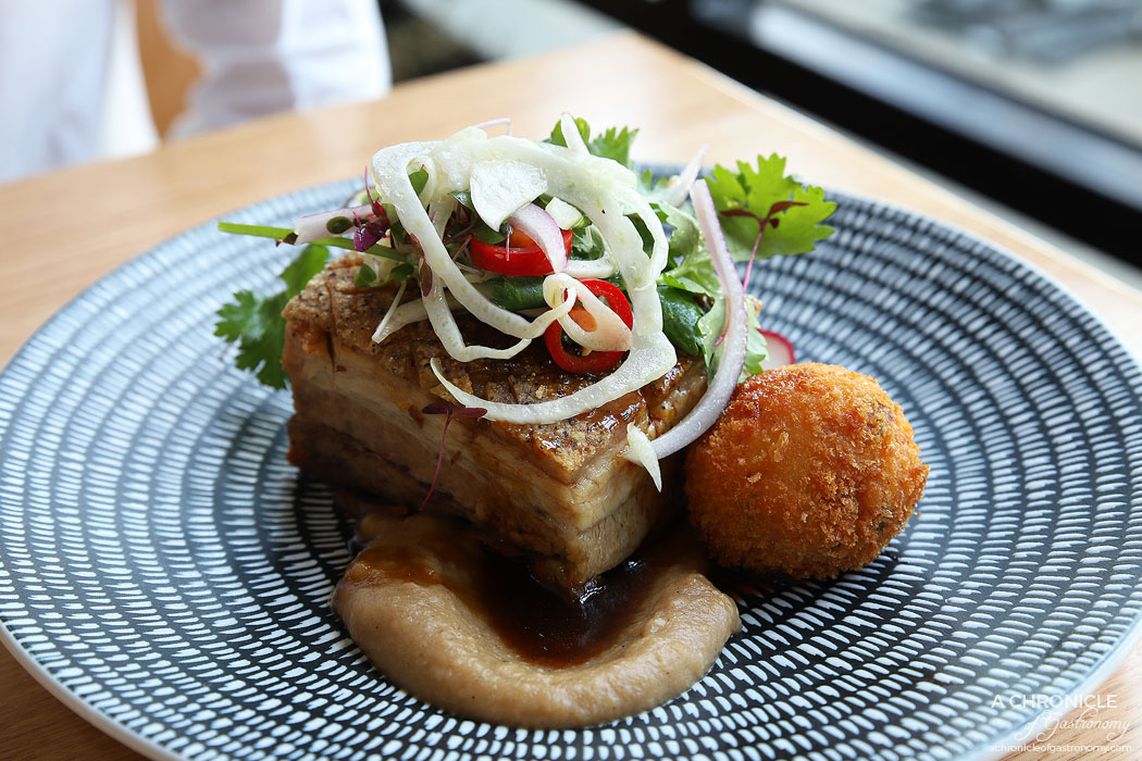 Two Fat Monks - Confit of Pork Belly - Crispy crackles, potato croquettes, fennel slaw & apple sauce ($24.50)