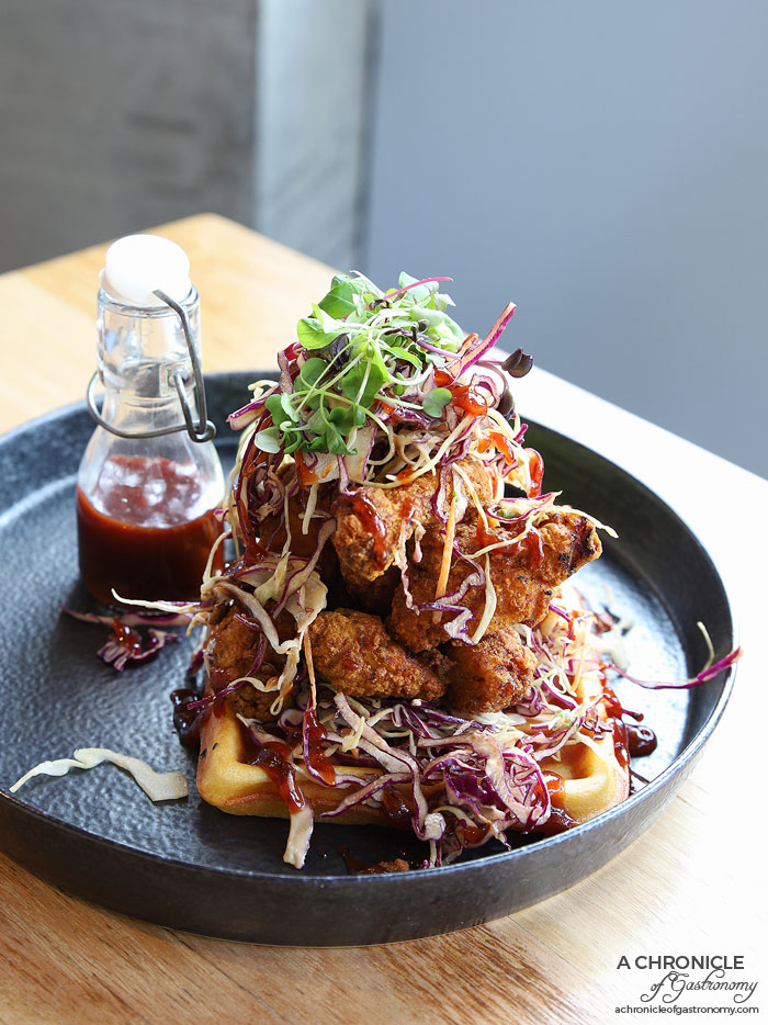 Code 21 - Crispy southern fried chicken waffles w chipotle slaw and cranberry BBQ sauce ($18.90)