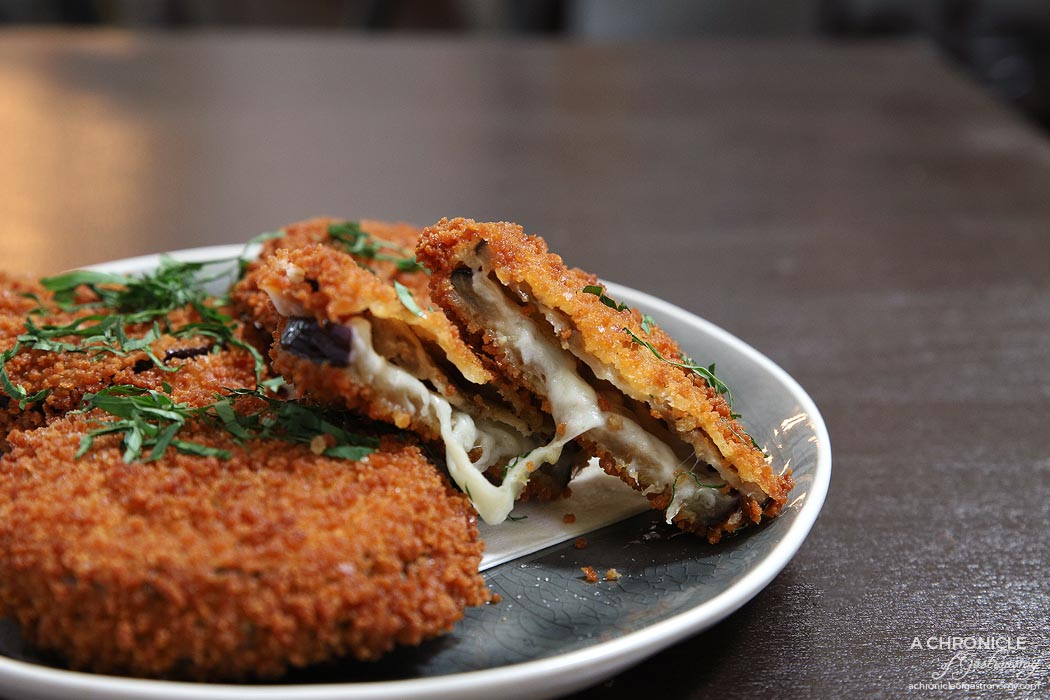 Spencer and Co - Melanzane in Carrozza - Sliced eggplant filled with mozzarella di bufala crumbed and deep fried ($11.50)