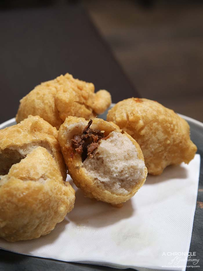 Spencer and Co - Sfingi con alici by Nonna Grazia - Sicilian doughnuts filled with anchovy, served warm ($9,50)