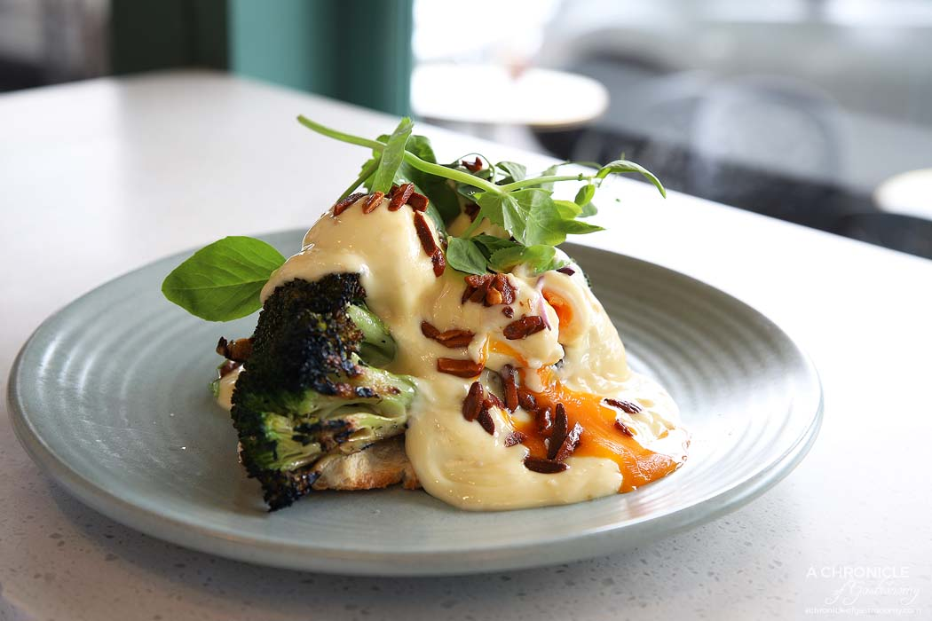 Tamper - Miso Benedict - Poached eggs, Meru miso hollandaise, charred broccoli, toasted almonds, sourdough ($18)