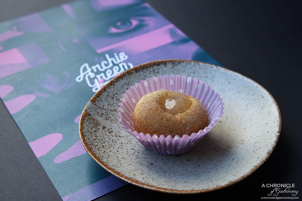 Archie Green - Five spice doughnut - Chicken liver parfait, agave ($5)