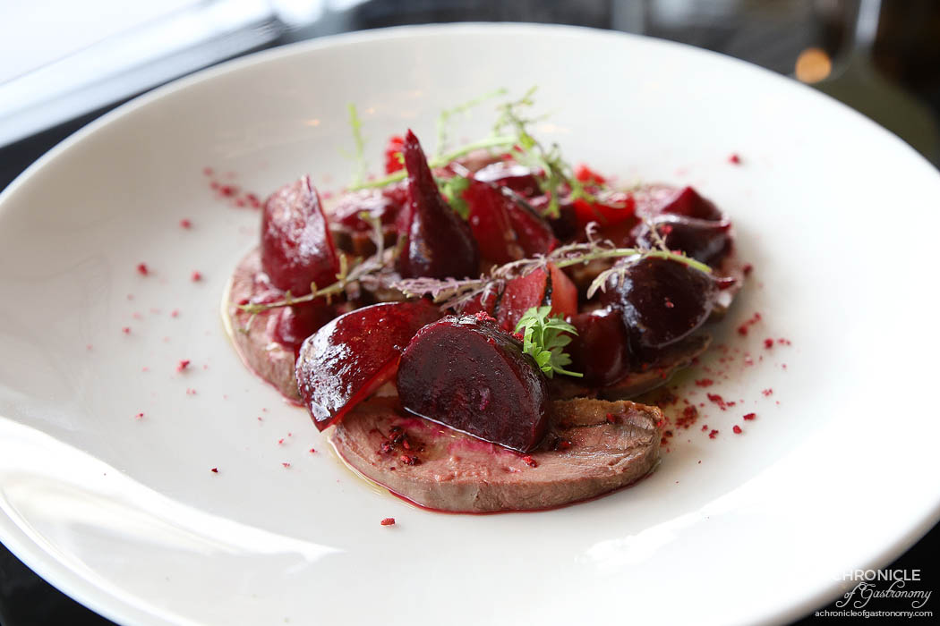 Lover - Smoked duck breast, beetroot, raspberry, blood plum ($19)