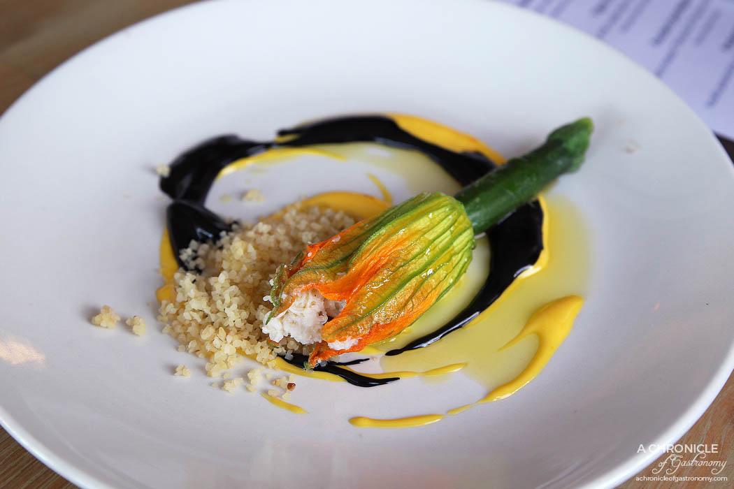 Pier Farm - Stuffed zucchini flower w spanner crab, light saffron mayonnaise
