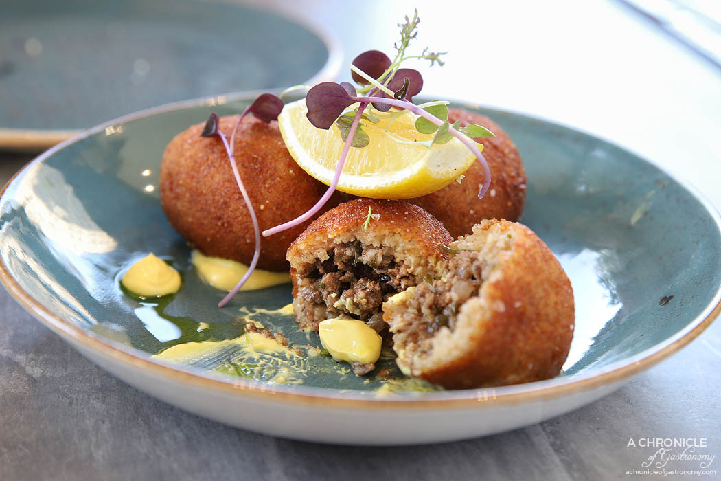 Venus and Co - Koupes, spiced beef mince, currants, saffron labne ($14)