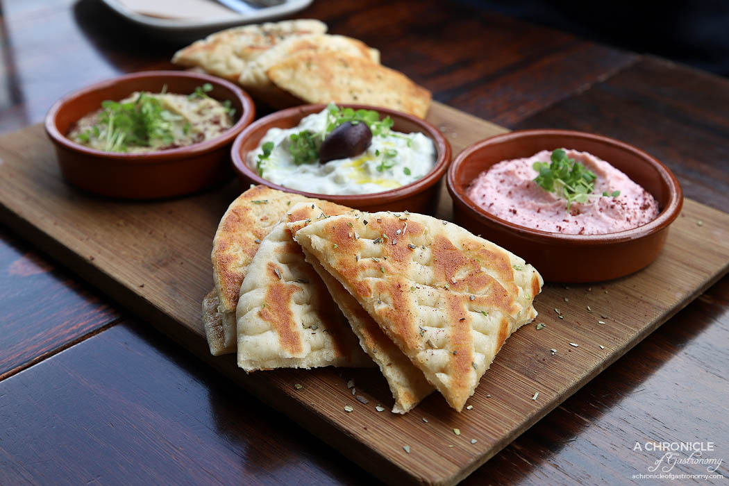 Bahari - Trio of Dips - Taramasalata, tzatziki & smokey eggplant - with warm pita bread ($18.50)