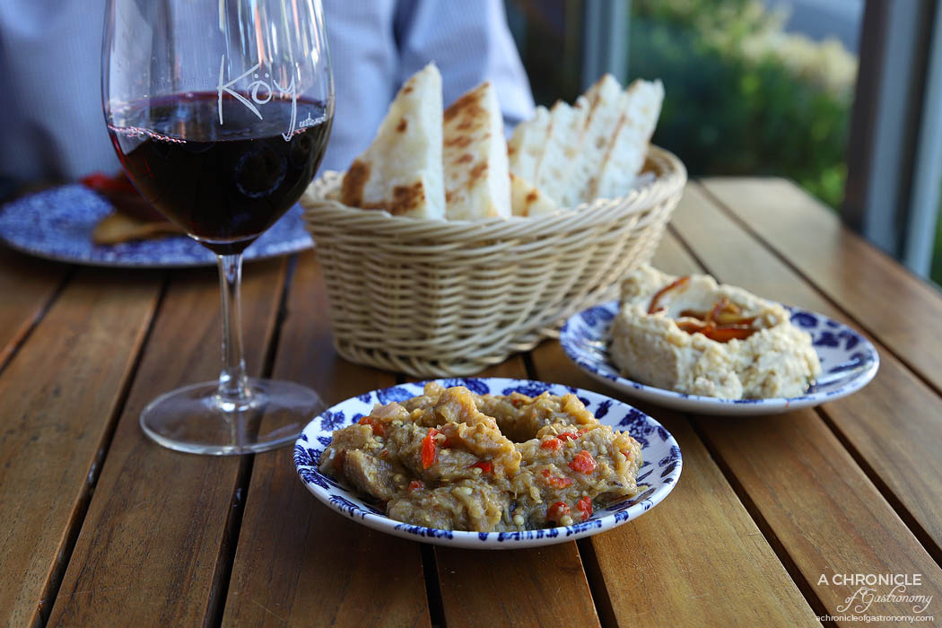 Koy - Smoked hummus w baked pine nuts & dates, Patlican - Smoked eggplant w capsicum, onion & parsley ($9 ea)