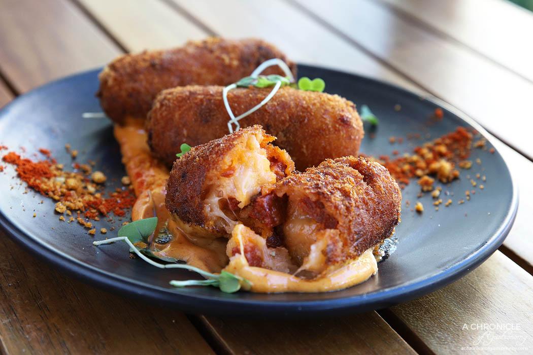 Koy - Cheese & sucuk sausage croquettes w smoked paprika mayo ($12.50)