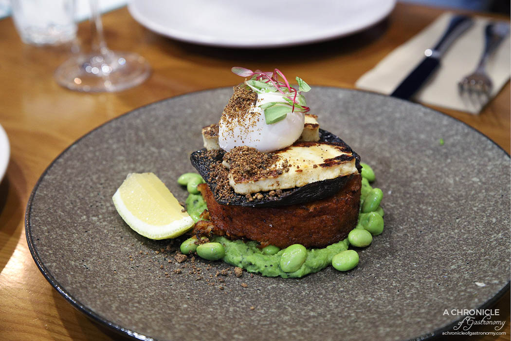 Le Clec - Sweet Potato Rosti - Confit field mushroom, mint pea puree, poached egg, porcini crumb, grilled halloumi ($17)