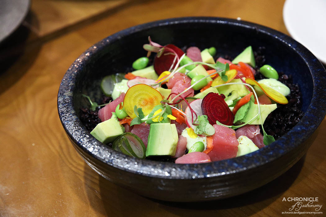 Le Clec - Hippy Bowl - Fresh tuna sashimi, diced avocado, edamame, pickled cucumber, black rice, soy, kewpie mayo ($15)
