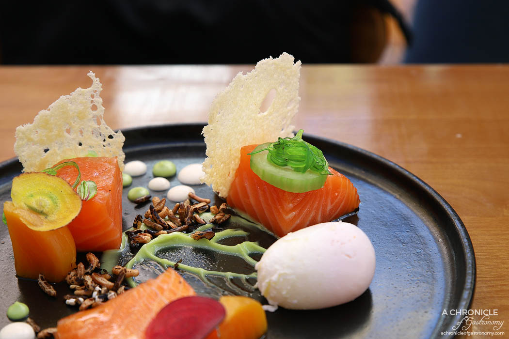 Le Clec - Ruby Grapefruit Cured Salmon - Wakame cucumber, basil mayo, goat curd, smoked pickled beetroot, puffed wild rice, brioche crisp, poached egg ($19)