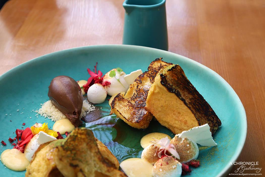 Le Clec - Toasted Brioche - Yuzu curd, soft crisp meringue, orange maple, whipped chocolate ganache ($16)