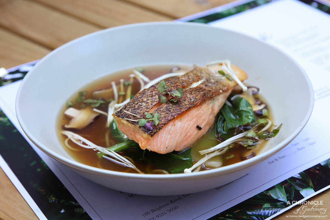 This Is Life - Crispy Skin Salmon + Bone Broth - Atlantic salmon, ginger, lemongrass and shiitake mushroom bone broth w zucchini noodles and Asian greens ($27)