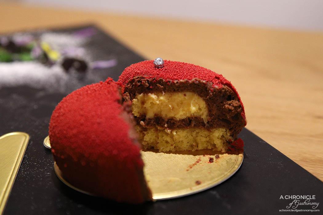 Charisma Workshop - Love Me Tender - Coco Barry Guayaquil chocolate mousse, mandarin cream, orange financier sponge ($10.50)