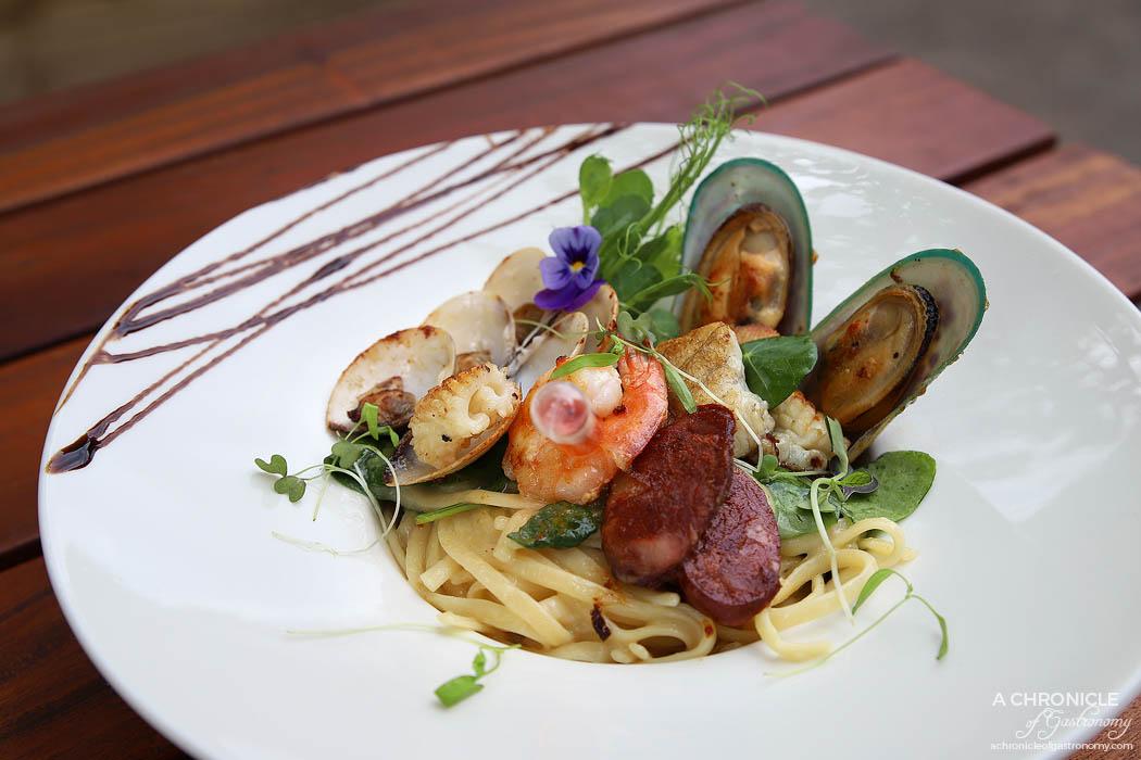 Linger Patisserie - Creamy Seafood Pasta - Mussels, calamari, squid, cherry tomatoes, spinach, linguini pasta, lobster oil ($22)
