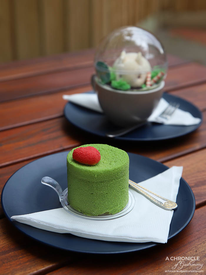 Linger Patisserie - Miss Matcha - Matcha mousse, strawberry jelly, dark chocolate crisp hazelnut biscuit, matcha sponge ($10)