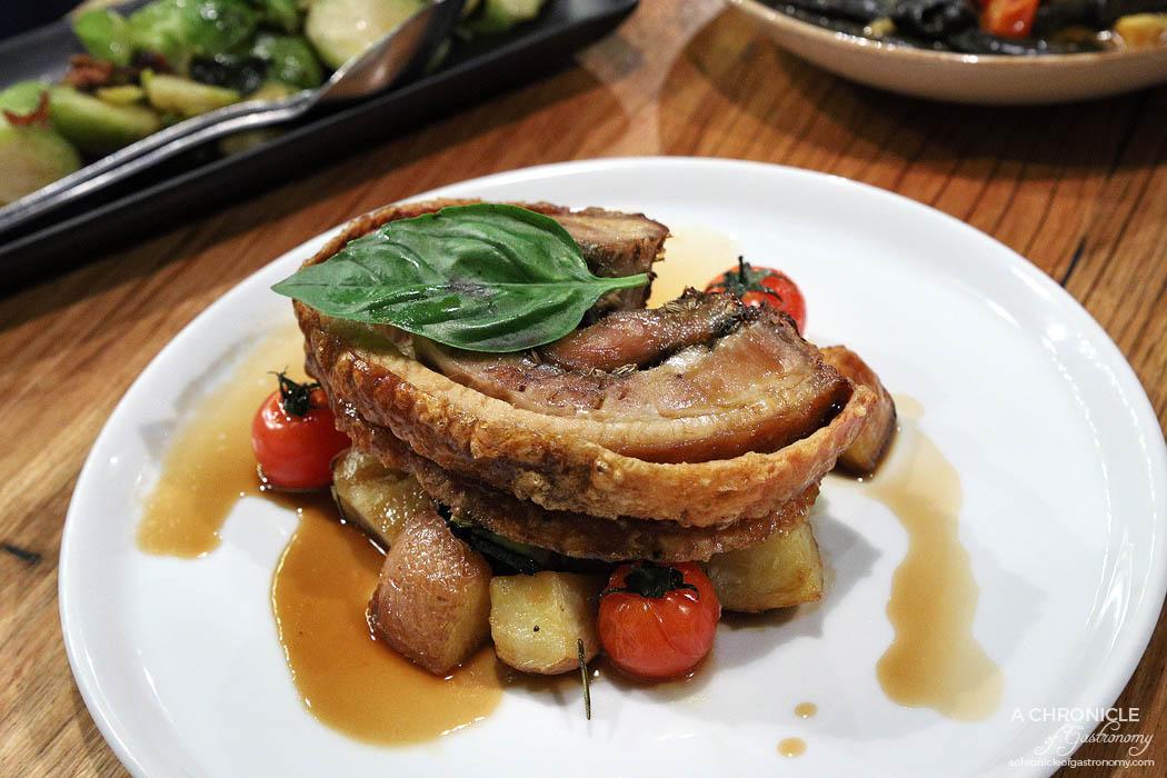 Basta - Porchetta - Free range rolled roasted pork, potato al forno ($34)