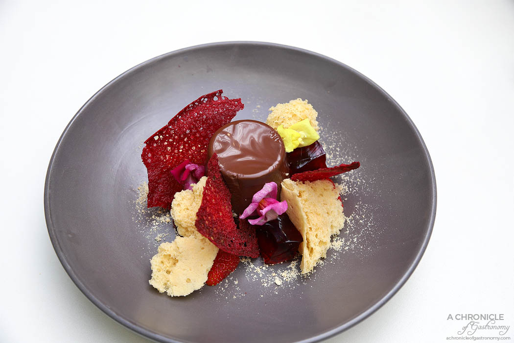 Clubhouse Malvern - Black Forrest Panna Cotta - Chocolate panna cotta, vanilla coral sponge, raspberry jelly, lace cookie, pomegranate molasses, biscuit crumb ($19)