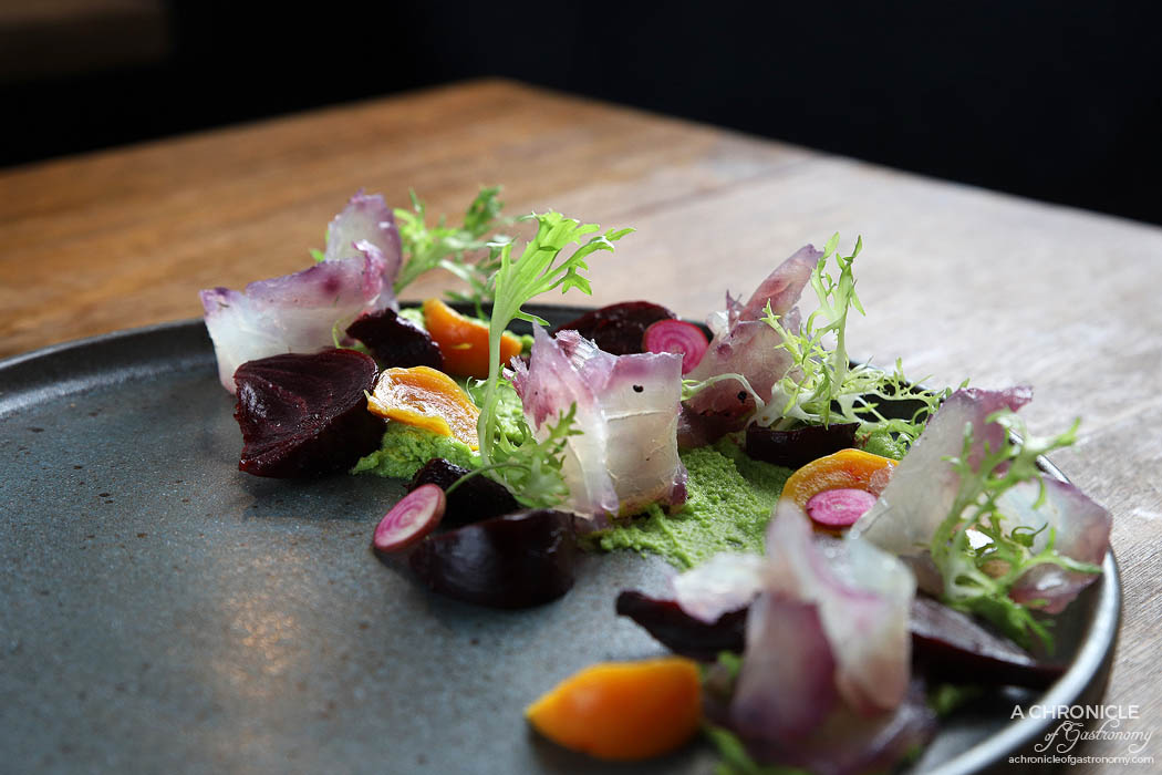 Galah - Snapper - Mountain pepper gin cured snapper, wasabi pea puree & beetroot ($18)
