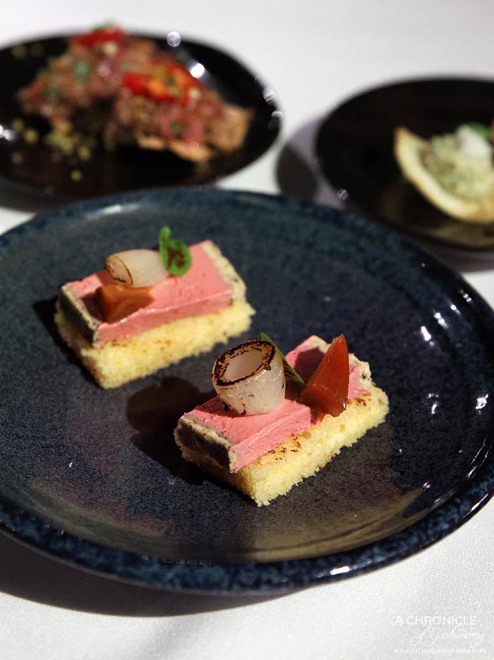 Steer Dining - Amuse bouche - Chicken liver parfait, black truffle, pickled pine mushroom, brioche toast