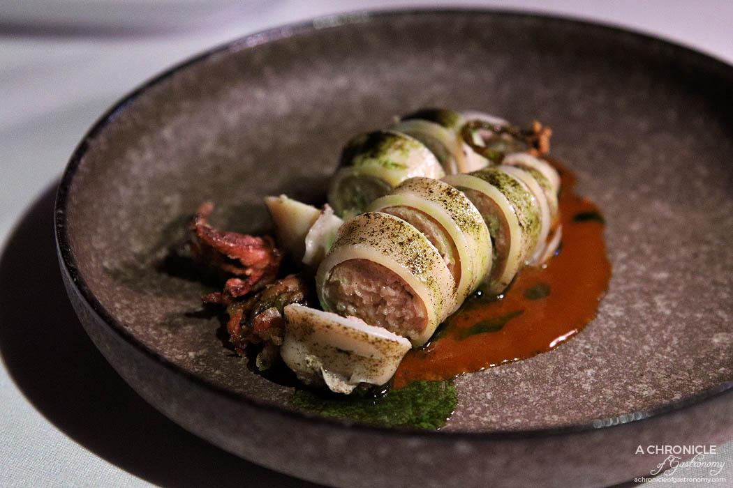 Steer Dining - Baby calamari, pork farce, kimchi, spring onion oil ($25)