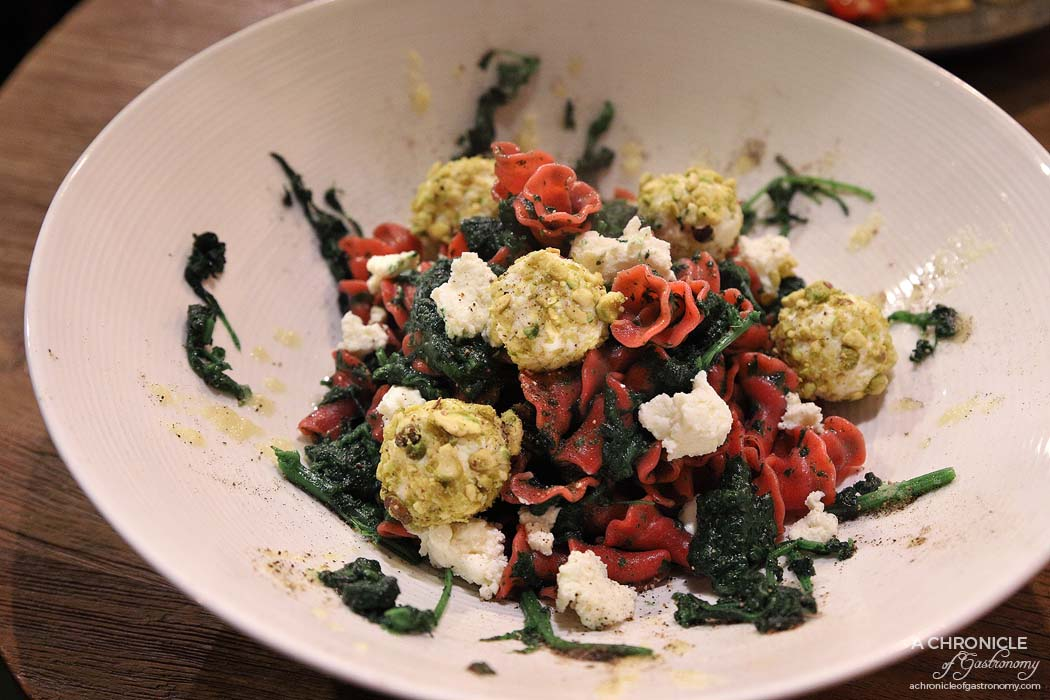 Cirelli and Co - Gigli with rape and ricotta rolled in pistachio