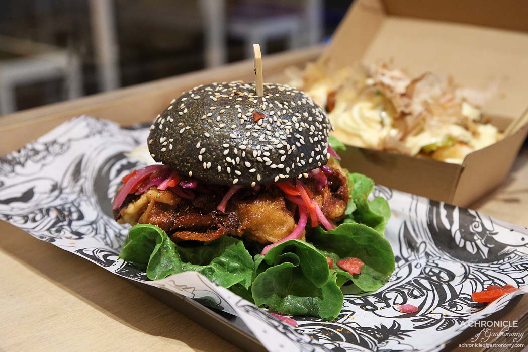 Kung Fu Burger - Minister Chicken - Juicy crispy chicken, yuzu and lime mayo, Asian slaw and Japanese pickle ($12)