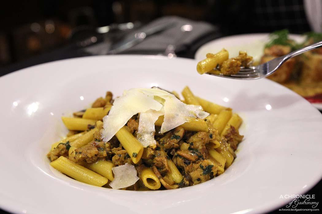 La Baia - Penne alla Barbaricina Sardegna w pork & fennel mince, wild mushrooms, herb saffron broth, pecorino cheese ($24)