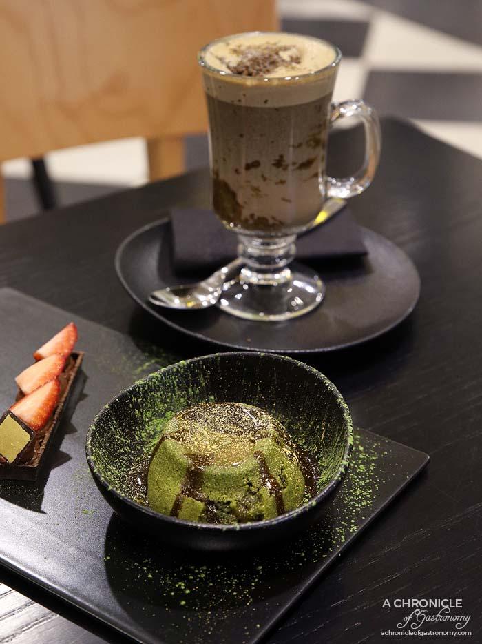 Matcha by Chokolait - Hojicha matcha lava cake, chocolate mousse tart, hojicha ice cream, Hojicha hot chocolate ($11)