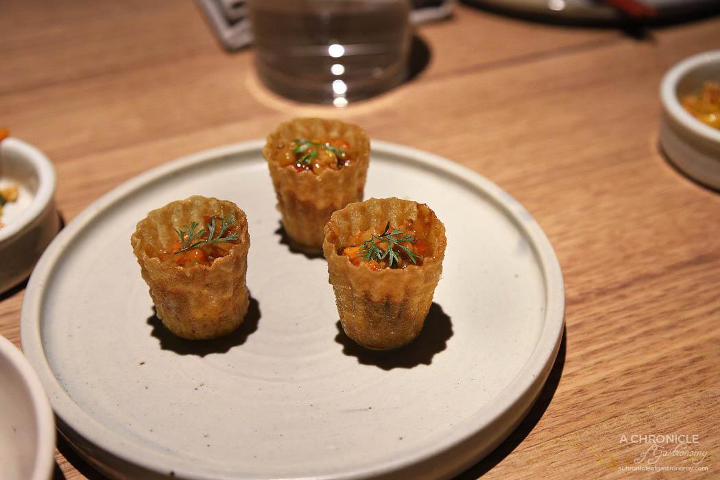Sunda - Pie tee, whipped egg custard, salted vegetables, chilli bean sauce