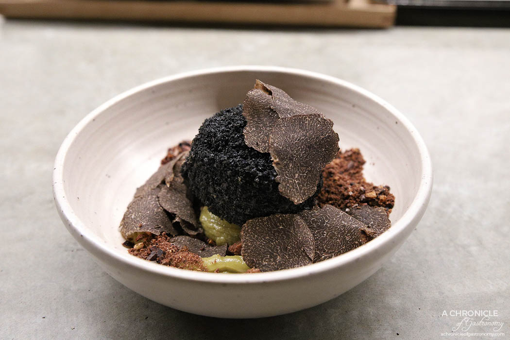 Sunda - Toasted rice and black truffle fried ice cream, kaya coconut & pandan custard, wattleseed crumb, fresh shaved truffle ($22)