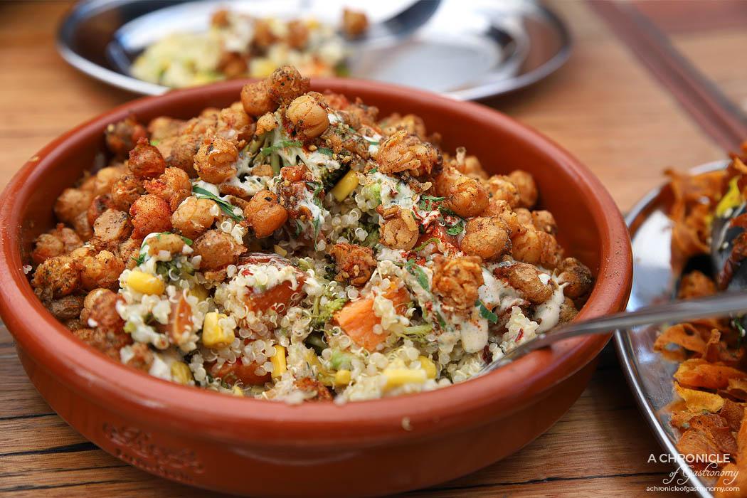 Tahina Fitzroy - Monkey Salad - Quinoa, roasted sweet potato, corn, broccoli and avocado topped with spiced dukkah chickpeas and tahini dill dressing ($15.50)