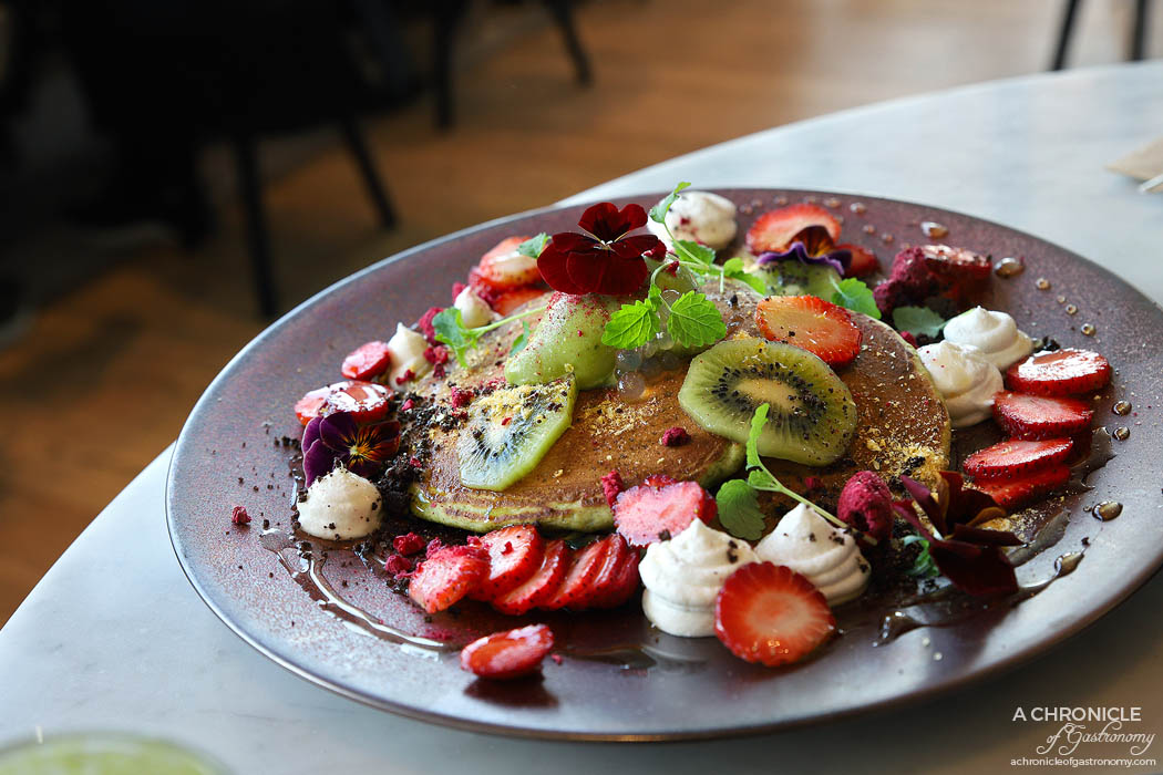 The Penny Drop - Matcha Pancake - Coconut gel, yuzu pearl, matcha ganache, chocolate soil, pure maple and fresh fruit ($19)