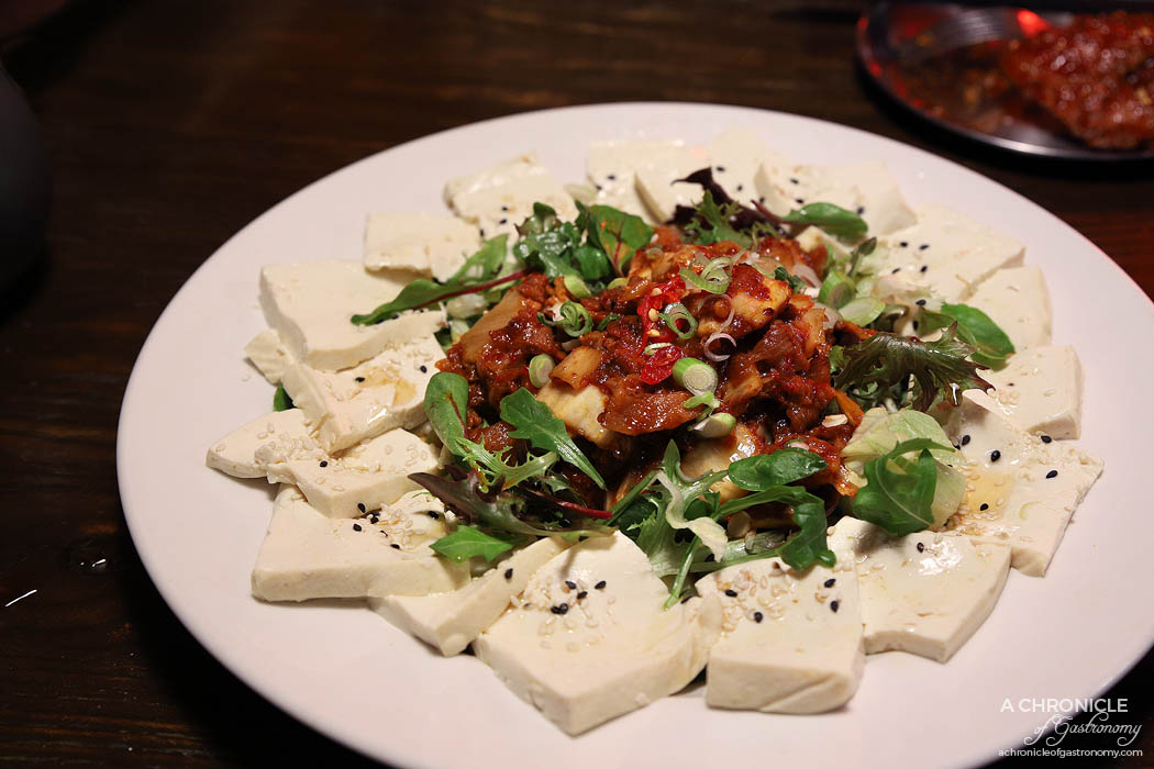 Goodovening - Tofu Kimchi - Steamed tofu, stir fried kimchi w sesame oil, pork belly and onion ($25)