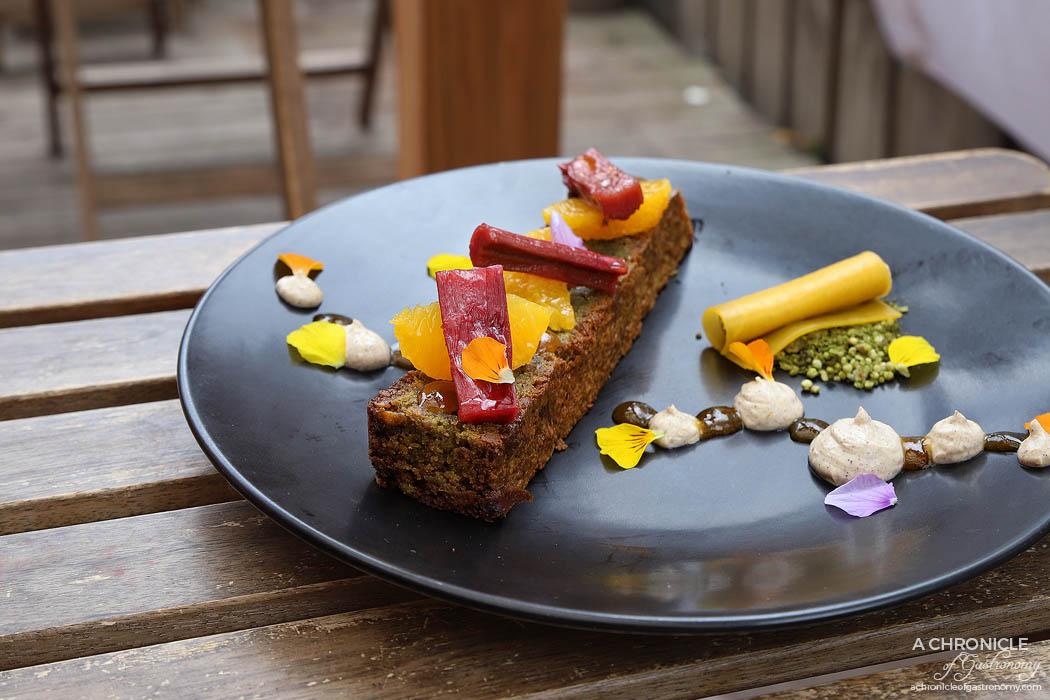 Dish and Spoon - Pistachio & Olive Oil Cake - Vanilla braised rhubarb, burnt orange gel, orange segments & pistachio granola with spiced orange labneh ($16)
