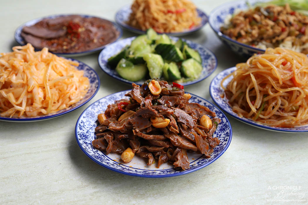 Lanzhou Beef Noodle Bar - Chicken giblets with peanuts, Spicy beef slices ($5), Bean curd ($3.50), Shredded potatoes ($3.50), Shredded cucumber with sauce ($3.50), Special pickled cabbage ($3.50)