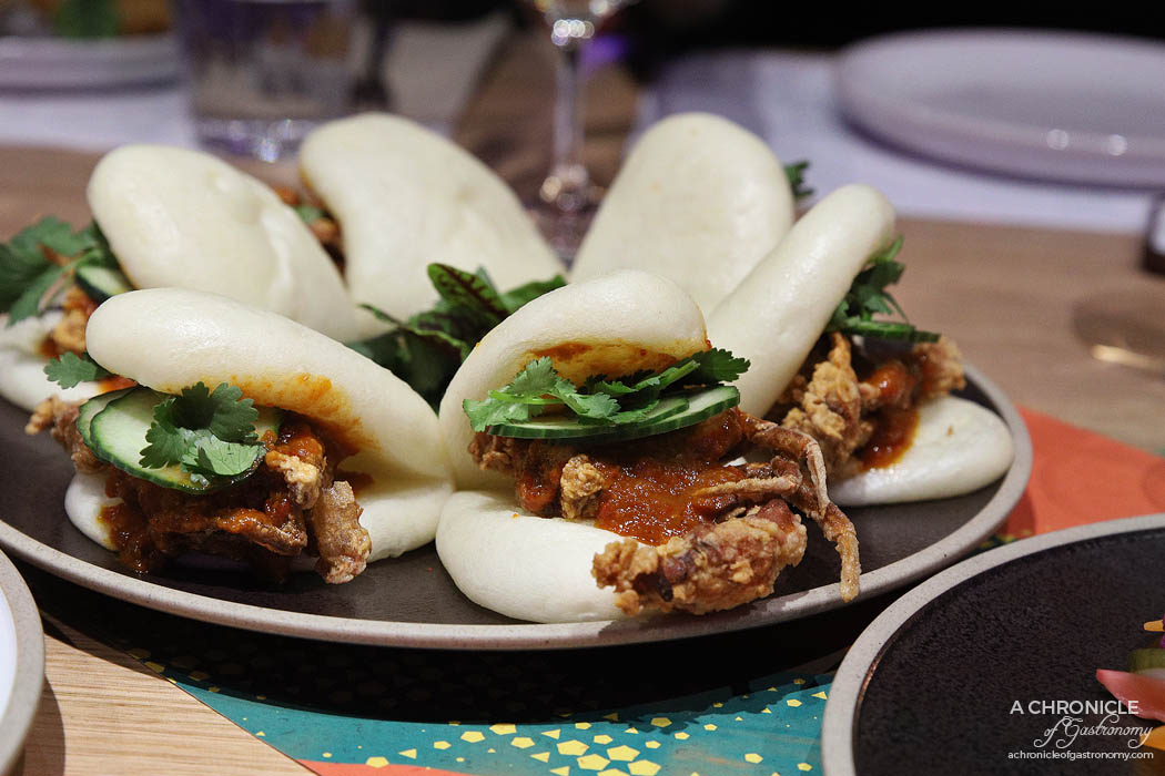 Makan - Soft-shell crab, Padang tomato sauce, steamed bun (2pcs for $15)